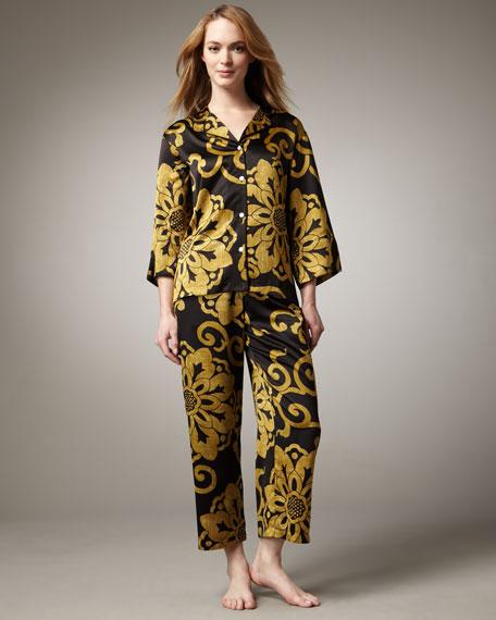 Shogun Printed Charmeuse Pajamas, Black-Gold