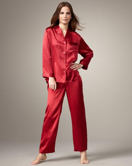 Classic Silk Pajamas, Red