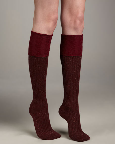 Ribbed Knee-High Socks