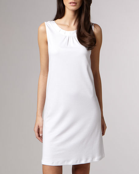 Jasmine Mercerized Tank Gown, White