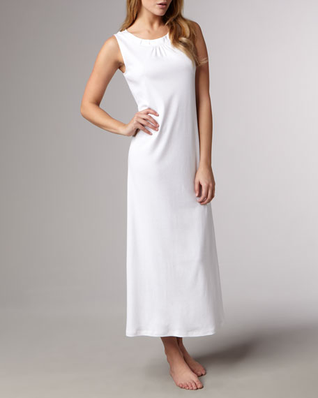Jasmine Long Mercerized Tank Gown, White