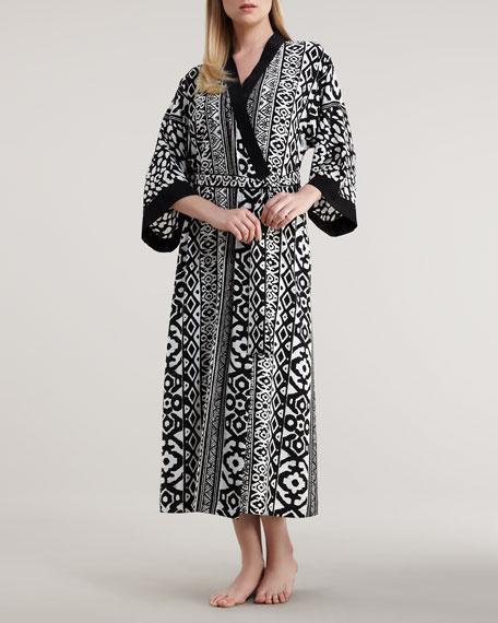 Long Modern Geometric-Print Robe