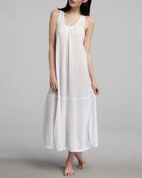 Long Batiste Woven Gown, White