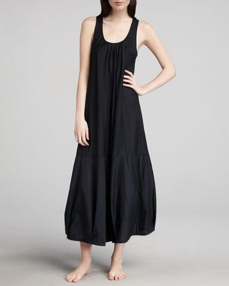 Long Batiste Woven Gown, Black