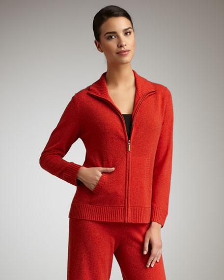 Cashmere Zip Jacket, Cinnabar