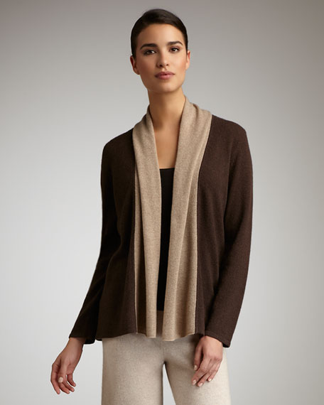 Open Cashmere Cardigan, Brown/Taupe