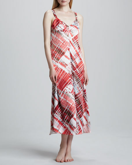 Modern Abstract-Print Long Gown