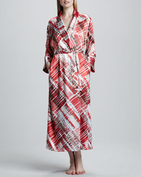 Modern Abstract-Print Long Robe