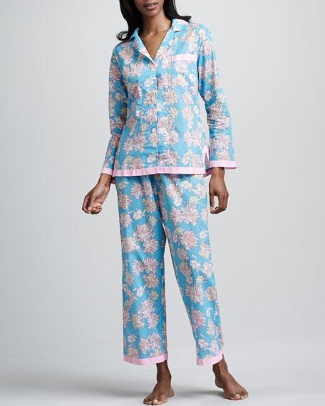 Mums-Print Sateen Pajamas