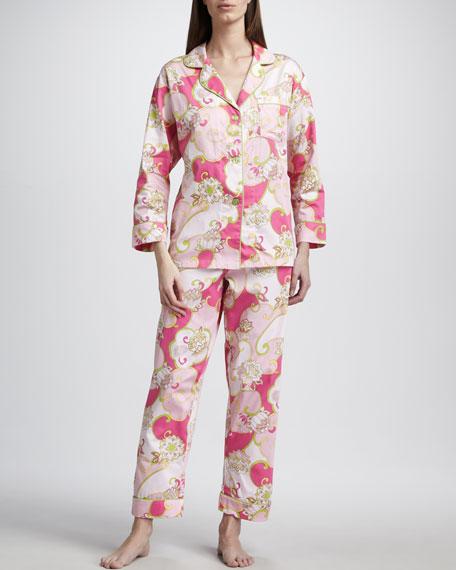 Petal-Print Sateen Pajamas