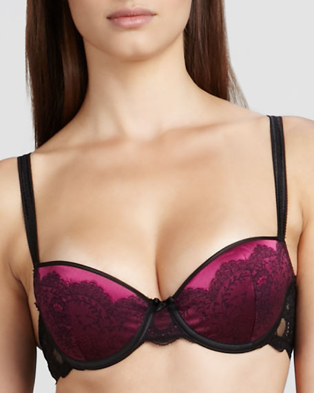 Paris Satin-Jacquard T-Shirt Bra, Black/Fuchsia