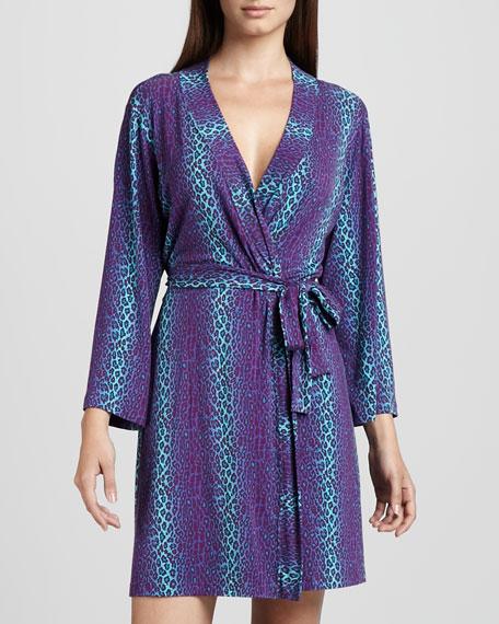 Anouck Leopard-Print Robe, Plum