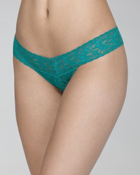 Signature Lace Low-Rise Thong, Dark Teal
