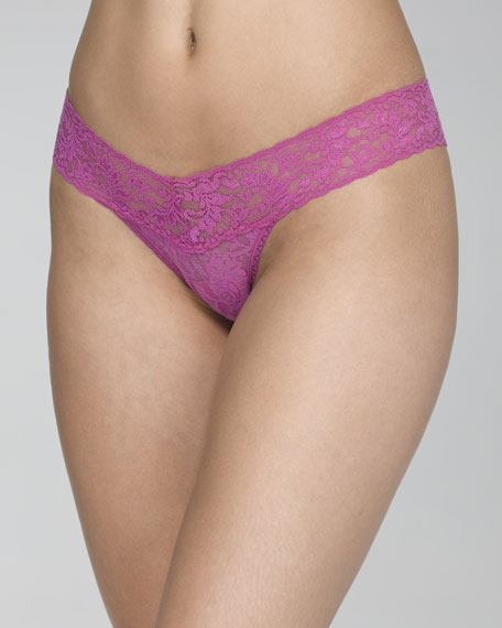Signature Lace Low-Rise Thong, Wild Rose