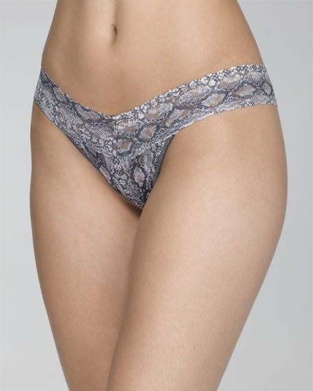 Anaconda-Print Low-Rise Thong