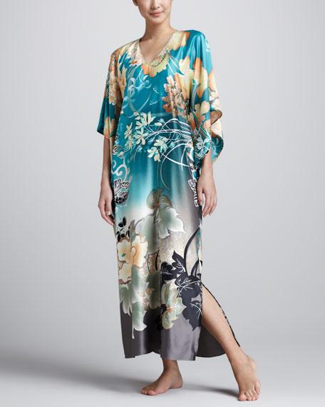 Ming Floral-Print Caftan, Teal