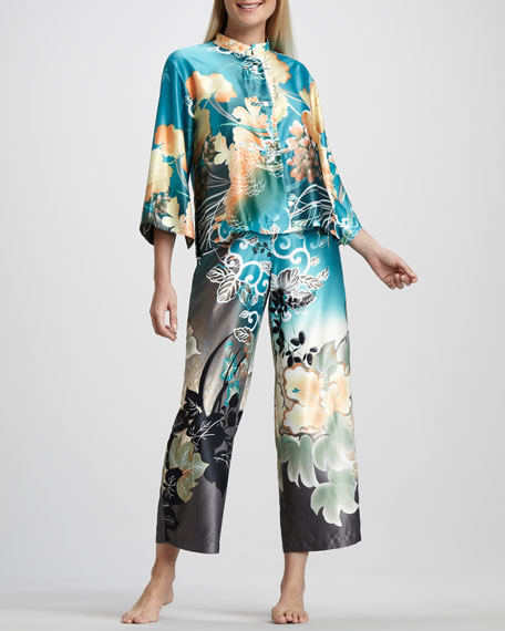 Ming Floral-Print Pajamas, Teal