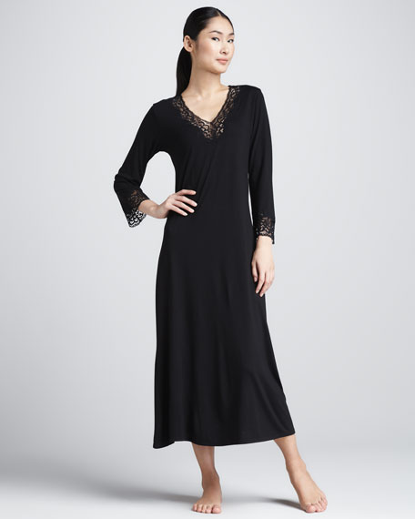 Lhasa Jersey Lounge Gown, Black