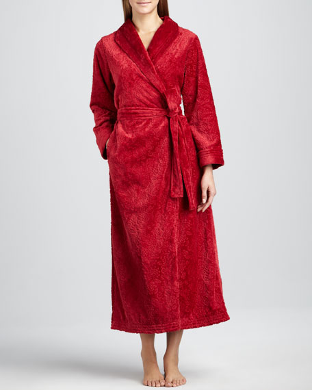 Plush Velour Scrollwork Robe, Ruby