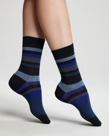 Striped Ankle Socks, Blue