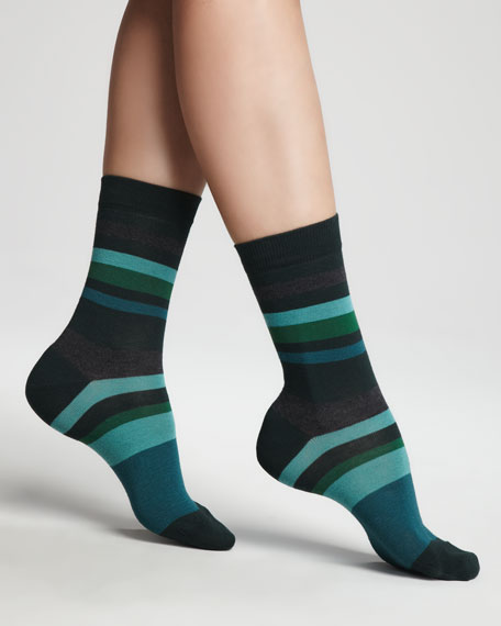 Striped Ankle Socks, Green