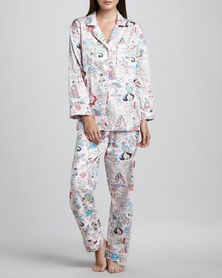 Geisha-Print Classic Sateen Pajamas