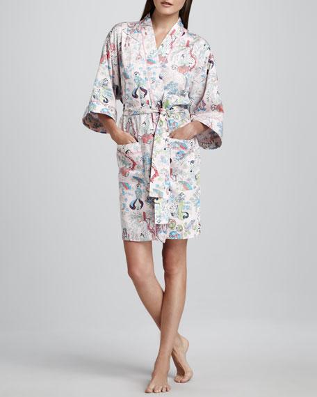 Geisha-Print Sateen Robe