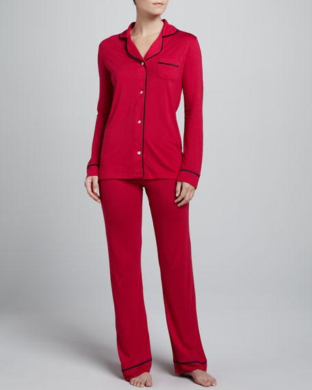 Amore Jersey Pajamas, Grenadine/Navy
