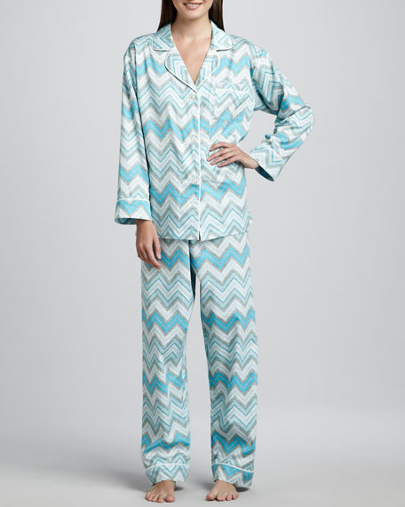 Chevron-Stripe Classic Sateen Pajamas
