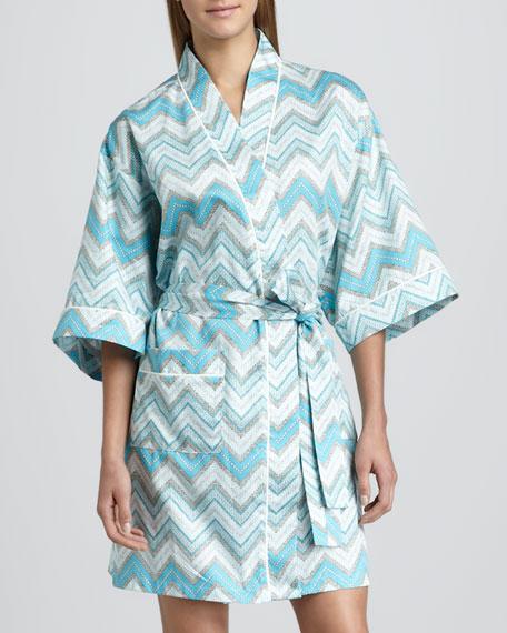 Chevron-Stripe Sateen Kimono Robe