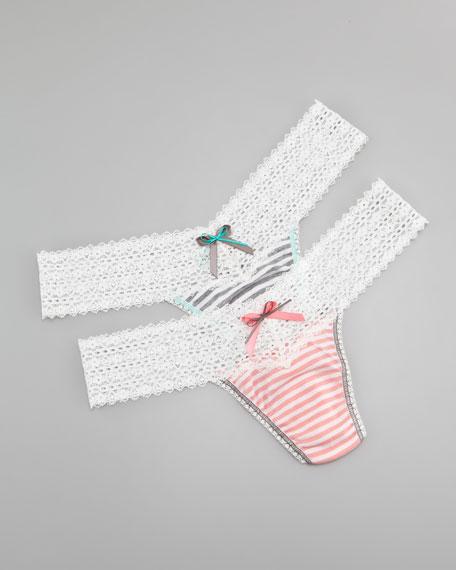 Resort Stripe Lace Thong