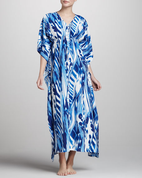 Agila Ruched Caftan, Deco Blue