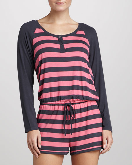 Striped Raglan Jumpsuit, Watermelon