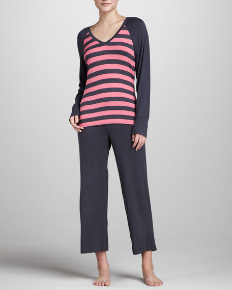 Striped Raglan Pajamas, Watermelon