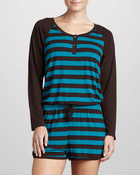 Striped Raglan Jumpsuit, Pebble