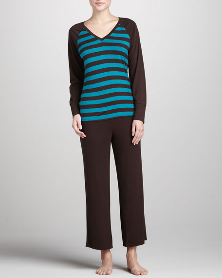 Striped Raglan Pajamas, Pebble