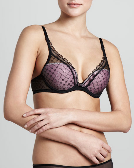 C Chic Plunge Push-Up Bra, Black/Pink