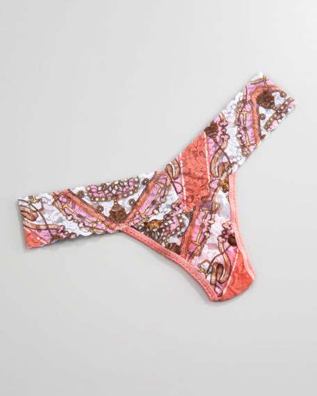 Jacquelyn Low-Rise Thong, Coral