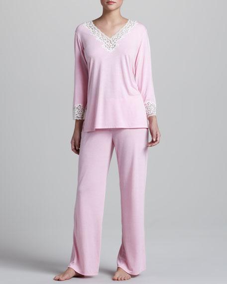 Lhasa Lace-Trim Jersey Pajamas