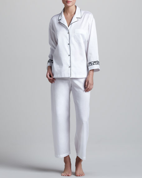 MING NOTCH COTTON PJ- White