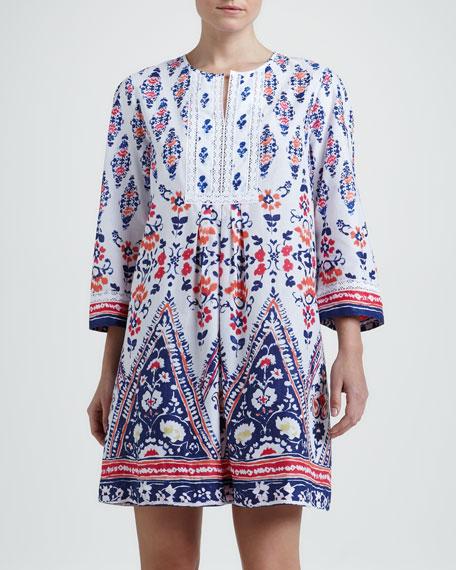 Bora Short Floral-Print Cotton Caftan