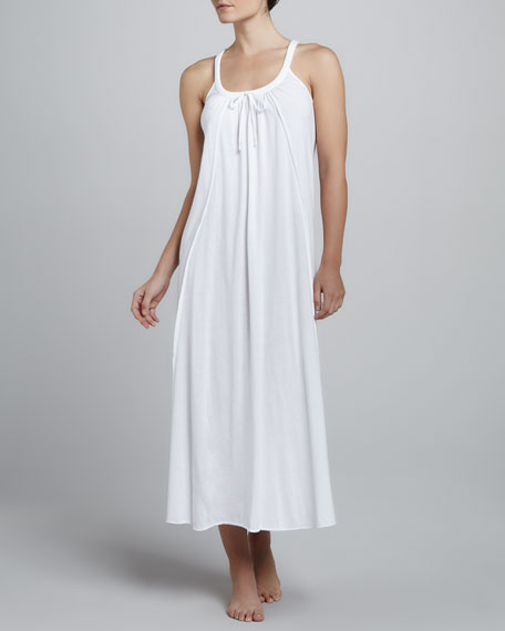 Long Pima Jersey Gown, White