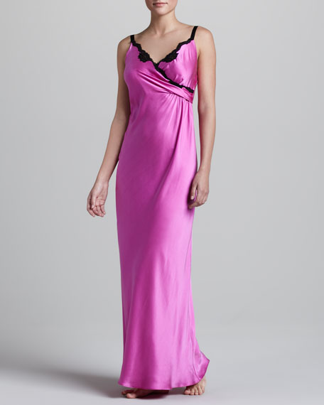 GLAM SILK GOWN W/LACE-Rsbrry