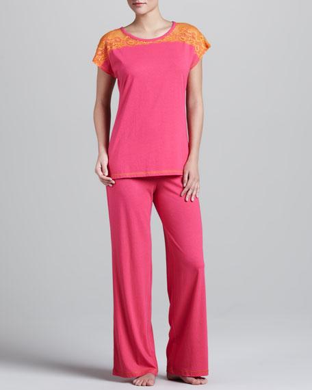Lace-Shoulder Pajamas, Cosmo Pink