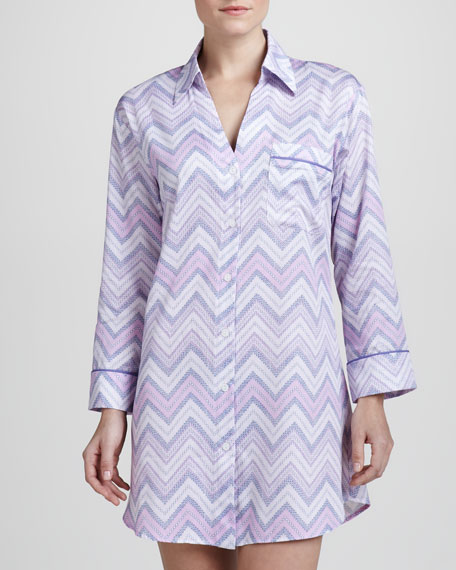 Chevron Sateen Nightshirt, Lilac