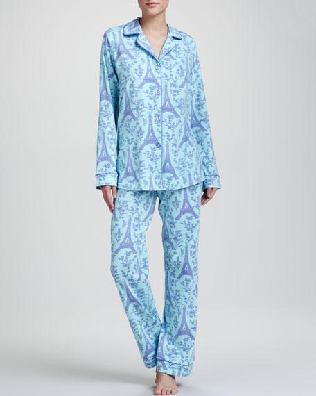 Eiffel Tower-Print Sateen Pajamas