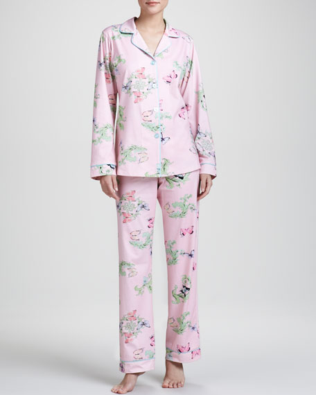 Butterfly-Print Classic Pajamas