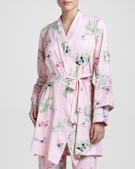 Butterfly-Print Knit Robe