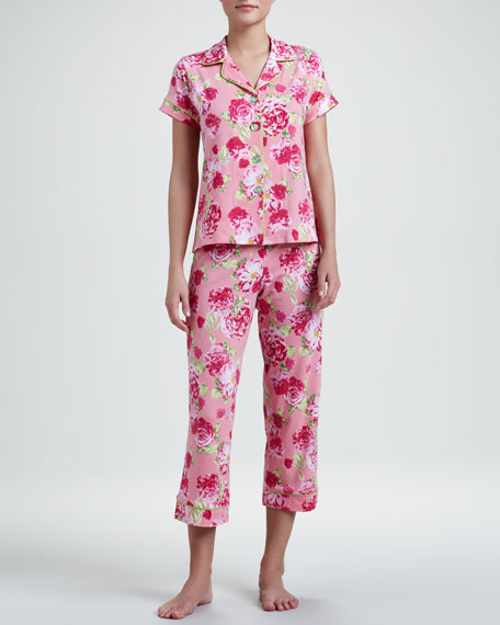 Cabbage Rose Classic Cropped Pajamas