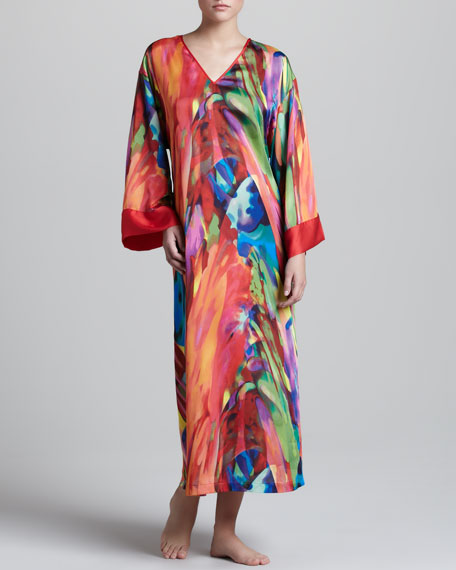 Bengal Printed Satin Caftan, Long